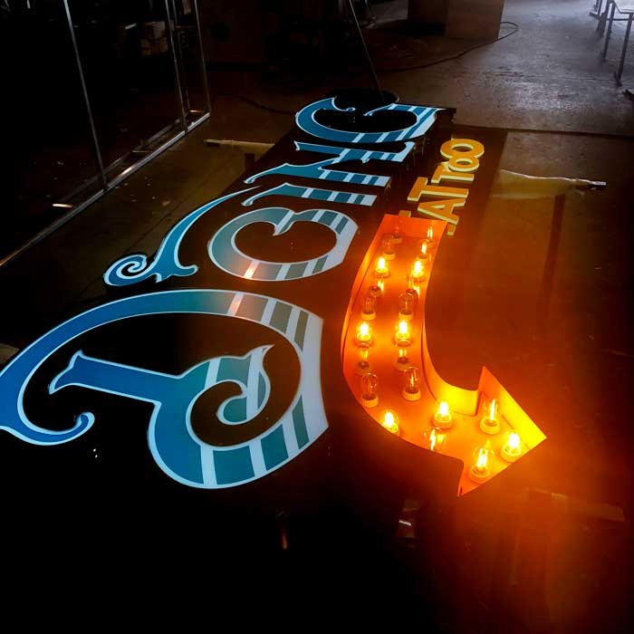 Channel Letters with Marquee lights